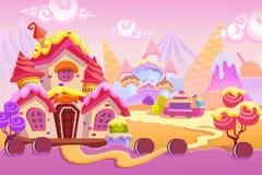 Δημιουργική απεικόνιση και καινοτόμος τέχνη: Το υπόβαθρο έθεσε 1: Πόλη παγωτού απεικόνιση αποθεμάτων