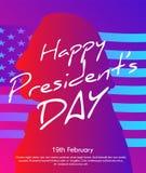 Δημιουργική απεικόνιση με την καθιερώνουσα τη μόδα επίδραση, την αφίσα ή το έμβλημα κλίσης των Προέδρων Day απεικόνιση αποθεμάτων