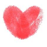 Δημιουργική αφίσα με τη διπλή καρδιά δακτυλικών αποτυπωμάτων Στοκ Φωτογραφία
