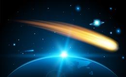 Δημιουργική διανυσματική απεικόνιση του πετώντας κοσμικού μετεωρίτη, planetoid, κομήτης, βολίδα που απομονώνεται στο διαφανές υπό διανυσματική απεικόνιση
