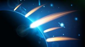 Δημιουργική διανυσματική απεικόνιση του πετώντας κοσμικού μετεωρίτη, planetoid, κομήτης, βολίδα που απομονώνεται στο διαφανές υπό απεικόνιση αποθεμάτων