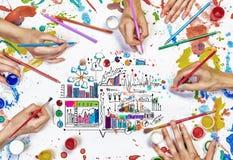Δημιουργική εργασία ομάδας στοκ εικόνες