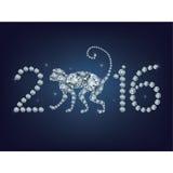 Δημιουργική ευχετήρια κάρτα καλής χρονιάς 2016 με τον πίθηκο Στοκ Φωτογραφία