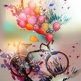 Δημιουργική διανυσματική απεικόνιση με τα σημεία μελανιού, μπαλόνια Στοκ Εικόνες