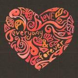 Δημιουργική καρδιά watercolor doodle στο σκοτάδι Ελεύθερη απεικόνιση δικαιώματος