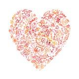 Δημιουργική καρδιά watercolor doodle Απεικόνιση αποθεμάτων