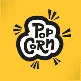 Δημιουργική λέξη popcorn για τους κινηματογράφους, κινηματογράφος και άλλος, που γράφει στο νόστιμο κίτρινο υπόβαθρο r r διανυσματική απεικόνιση