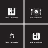 Δημιουργική μουσική και αφηρημένο σχέδιο διανυσματικό τ λογότυπων εικονιδίων εστιατορίων Στοκ Εικόνα