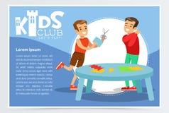Δημιουργική μπλε αφίσα για τη λέσχη παιδιών με τους ευτυχείς χαρακτήρες αγοριών που κάνουν applique Χέρι - που γίνονται και κατηγ Απεικόνιση αποθεμάτων