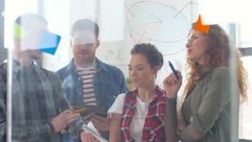 Δημιουργική ομάδα με τα διαγράμματα στον πίνακα γυαλιού γραφείων φιλμ μικρού μήκους