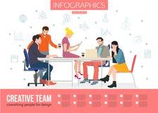 Δημιουργική ομάδα Infographics Επιχειρησιακή συνεδρίαση και Στοκ φωτογραφία με δικαίωμα ελεύθερης χρήσης