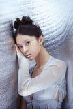 Δημιουργική σύνθεση τέχνης και hairstyle ασιατικό όμορφο πορτρέτο &kapp Στοκ Φωτογραφία