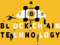 Δημιουργική τεχνολογία και άνθρωποι Blockchain έννοιας του Word που κάνουν τις δραστηριότητες απεικόνιση αποθεμάτων