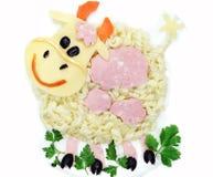 Δημιουργική φυτική μορφή αγελάδων γευμάτων τροφίμων Στοκ Εικόνα