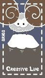 Δημιουργική zodiacal ευχετήρια κάρτα, aries, διάνυσμα ελεύθερη απεικόνιση δικαιώματος