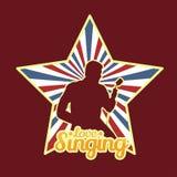 Δημιουργικοί άνθρωποι που τραγουδούν στο σχέδιο απεικόνισης το διανυσματικό λογότυπο τέχνης απεικόνιση αποθεμάτων