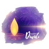 Δημιουργικός διανυσματικός χαιρετισμός φεστιβάλ diwali με το diya και τα πυροτεχνήματα Στοκ Φωτογραφία
