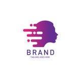 Δημιουργικός εγκέφαλος λογότυπων γυναικών επικεφαλής απεικόνιση αποθεμάτων