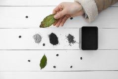 Δημιουργικός καφές φύλλων εργασίας στο χέρι του ένα θηλυκό χέρι στοκ εικόνες