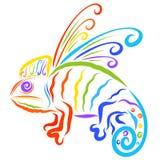 Δημιουργικός φτερωτός χαμαιλέοντας, επτά χρώματα του ουράνιου τόξου διανυσματική απεικόνιση