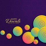 Δημιουργικός χαιρετισμός φεστιβάλ σχεδίου diwali με τη διακόσμηση mandala Στοκ Εικόνες