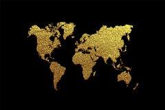 Δημιουργικός χρυσός χάρτης του κόσμου επίσης corel σύρετε το διάνυσμα απεικόνισης διανυσματική απεικόνιση