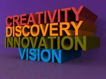 Δημιουργικότητα, ανακάλυψη, καινοτομία και όραμα απεικόνιση αποθεμάτων