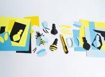 δημιουργικότητα με τα παιδιά Κύρια κατηγορία στη δημιουργία των μελισσών από το έγγραφο Στοκ εικόνα με δικαίωμα ελεύθερης χρήσης