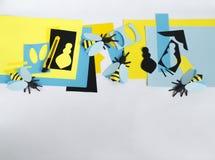 δημιουργικότητα με τα παιδιά Κύρια κατηγορία στη δημιουργία των μελισσών από το έγγραφο Στοκ Εικόνες