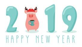 Δημιουργικό έμβλημα για το νέο έτος του 2019 με το χαριτωμένο χοίρο Έννοια, διανυσματικό κάθετο πρότυπο Σύμβολο του έτους στους Κ απεικόνιση αποθεμάτων