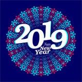 Δημιουργικό έμβλημα 2019 καλής χρονιάς διανυσματική απεικόνιση