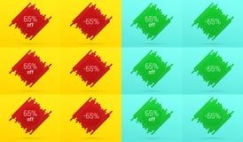 Δημιουργικό έμβλημα πώλησης με 65 μακριά προσφορά Στοκ Εικόνα