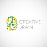 Δημιουργικό απόθεμα σχεδίου λογότυπων εγκεφάλου Στοκ Φωτογραφία