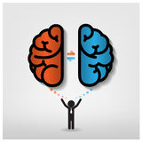 Δημιουργικό αριστερό και δεξιό backgro έννοιας ιδέας εγκεφάλου