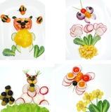 Δημιουργικό αστείο φυτικό πρόχειρο φαγητό με την ντομάτα Στοκ εικόνα με δικαίωμα ελεύθερης χρήσης