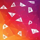 Δημιουργικό αφηρημένο υπόβαθρο τριγώνων έννοιας διανυσματικό με το εικονίδιο τον Ιστό και τις κινητές εφαρμογές που απομονώνονται Στοκ Φωτογραφίες