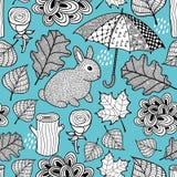 Δημιουργικό γραπτό άνευ ραφής σχέδιο με το χαριτωμένες κουνέλι και doodle την ομπρέλα Στοκ φωτογραφία με δικαίωμα ελεύθερης χρήσης