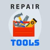 Δημιουργικό γραφικό στοιχείο λογότυπων σχεδίου εικονιδίων κιβωτίων εργαλείων επισκευής και εξοπλισμός επιχειρησιακής συντήρησης ο ελεύθερη απεικόνιση δικαιώματος