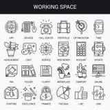 Δημιουργικό επίπεδο σύνολο εικονιδίων γραμμών Στοκ Εικόνα