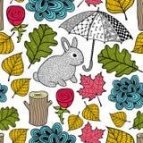 Δημιουργικό ζωηρόχρωμο άνευ ραφής σχέδιο με το χαριτωμένες κουνέλι και doodle την ομπρέλα Στοκ φωτογραφία με δικαίωμα ελεύθερης χρήσης