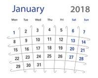 δημιουργικό ημερολόγιο Ιανουαρίου πλέγματος του 2018 αστείο αρχικό Στοκ Εικόνα