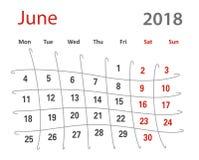 δημιουργικό ημερολόγιο Ιουνίου πλέγματος του 2018 αστείο αρχικό Στοκ φωτογραφία με δικαίωμα ελεύθερης χρήσης