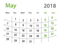 δημιουργικό ημερολόγιο Μαΐου πλέγματος του 2018 αστείο αρχικό Στοκ εικόνες με δικαίωμα ελεύθερης χρήσης