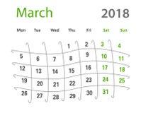 δημιουργικό ημερολόγιο Μαρτίου πλέγματος του 2018 αστείο αρχικό Στοκ Φωτογραφία