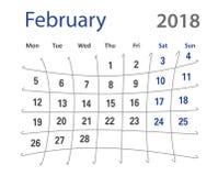 δημιουργικό ημερολόγιο Φεβρουαρίου του 2018 αστείο αρχικό Στοκ φωτογραφίες με δικαίωμα ελεύθερης χρήσης