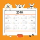 Δημιουργικό ημερολόγιο με τα συρμένα σκυλιά κινούμενων σχεδίων για το έτος 2018 τοίχων Στοκ Εικόνα
