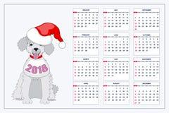 Δημιουργικό ημερολόγιο με το συρμένο σκυλί παιχνιδιών για το έτος 2018 τοίχων Στοκ Εικόνες