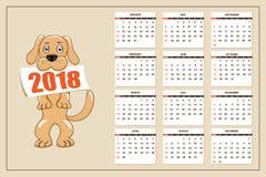 Δημιουργικό ημερολόγιο με το συρμένο σκυλί παιχνιδιών για το έτος 2018 τοίχων Στοκ Φωτογραφίες