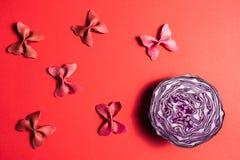 Δημιουργικό θερινό σχεδιάγραμμα φιαγμένο από ρόδινο χρωματισμένο λάχανο και χρωματισμένο semolina ζυμαρικών papillon στο φωτεινό  στοκ φωτογραφία με δικαίωμα ελεύθερης χρήσης