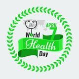 Δημιουργικό διάνυσμα αποθεμάτων χαιρετισμού ημέρας παγκόσμιας υγείας κόκκινη κορδέλλα Στοκ Εικόνα